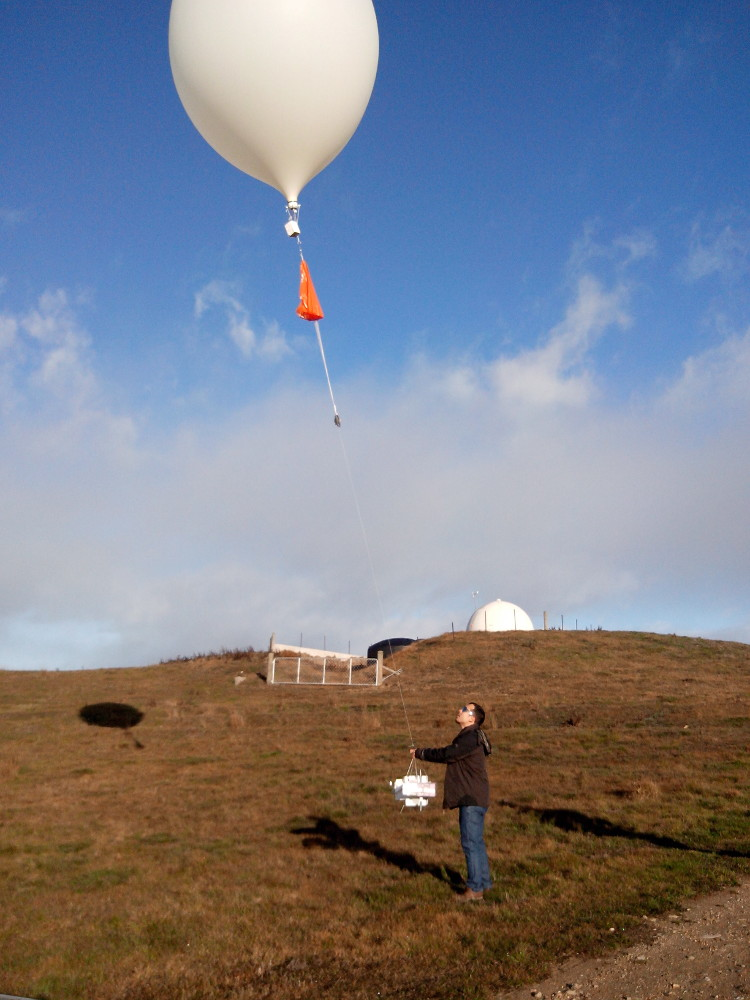 Radiosonde balloon launch