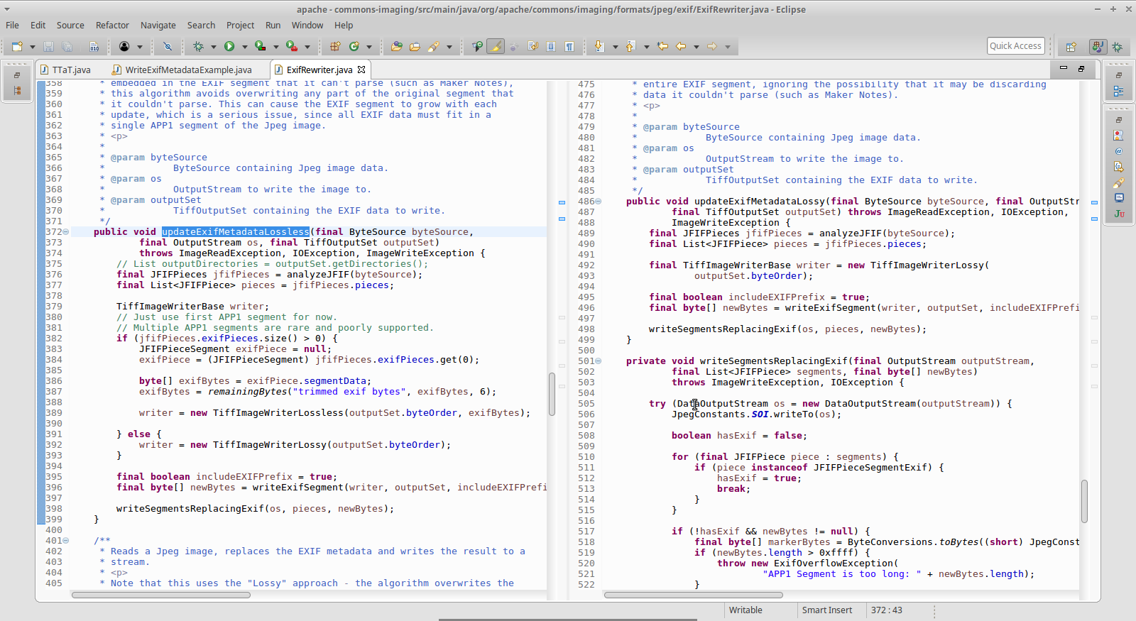 A screen shot of Eclipse with source code