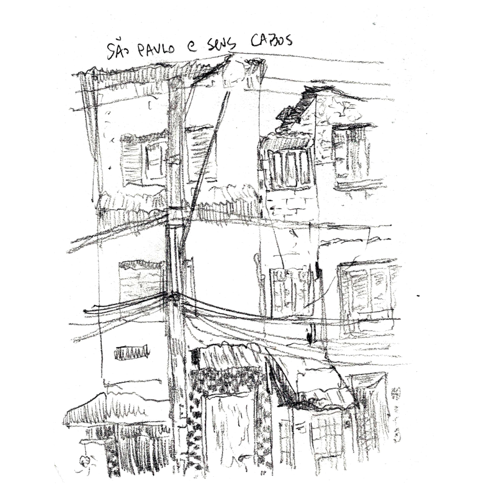 A drawing with houses in Sao Paulo, with many electricity/tv/telephone cables in front of it